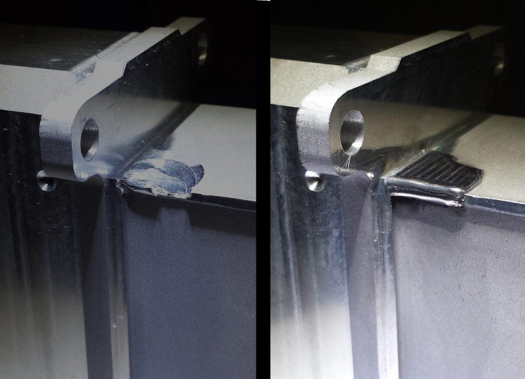 ADS Laser - Galerie de photos de rechargement laser - Rechargement d'un coup d'outil sur boîtier aluminium