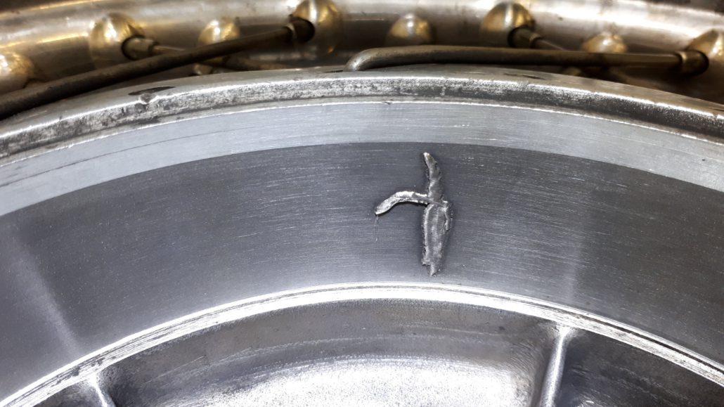 ADS Laser - Soudage d'une fissure sur tambour en fonte (détail)